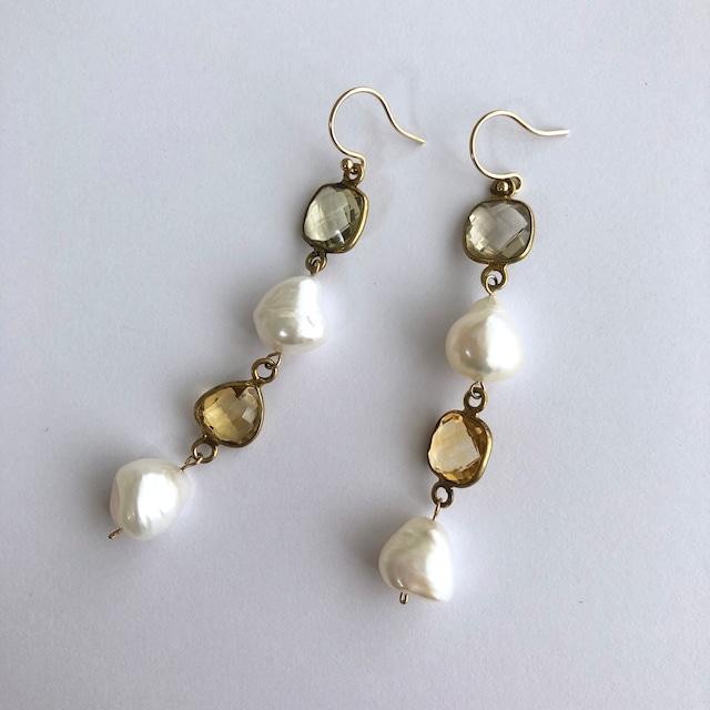 Color Gem x Baroque Pearl Pierces Four - 001 / K10YG・Pair