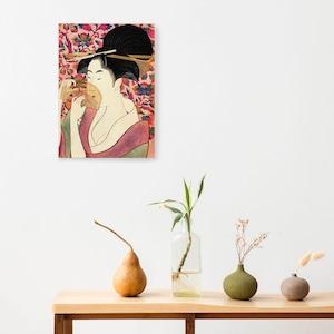 素敵なアートパネル A4サイズ 櫛を持つ女 喜多川歌麿