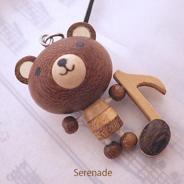 [再入荷] 音符くま 動物と楽器の木製ストラップ