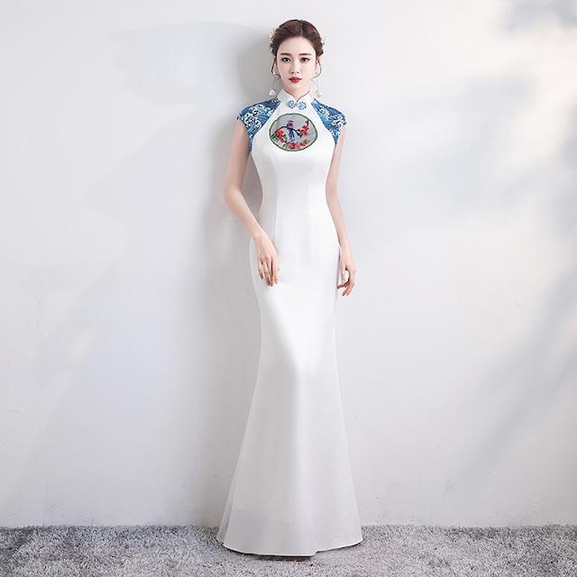 改良型チャイナドレス パーティードレス ロング丈ワンピース ロングドレス 女子会 二次会 お呼ばれドレス 発表会 大きいサイズ S M L LL 3L 4L チャイナ風ドレス マーメイドライン 刺繍 ホワイト 白い