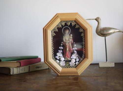 ドイツ伝統工芸 Klosterarbeiten  額装 幼子を抱くマリア