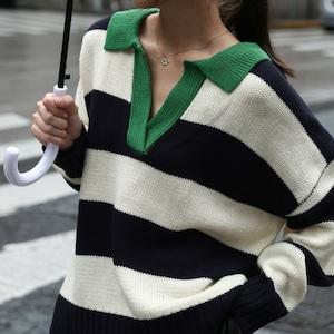 Polo color border sweater(ポロカラーボーダーセーター)b-498