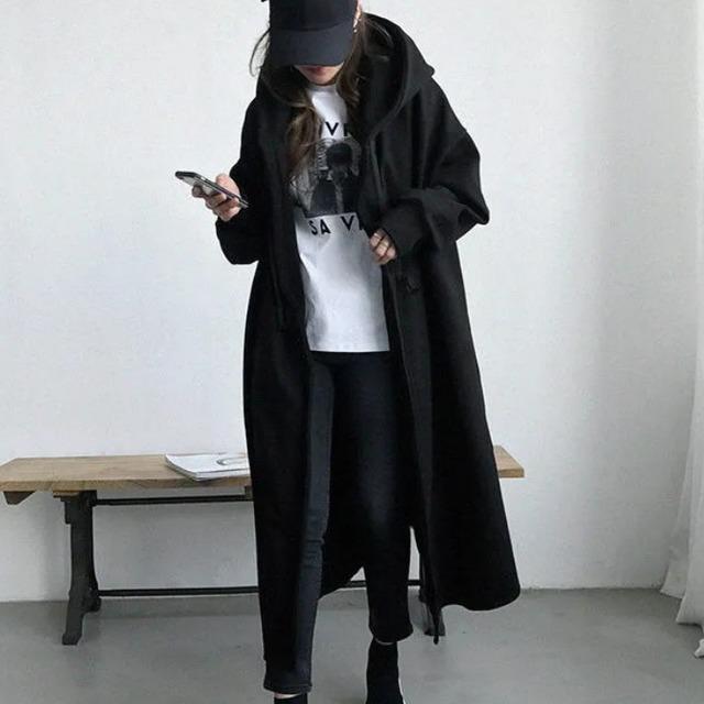 【アウター】韓国風ファッション 高級感 大活躍 ファッション 無地 ロング すね丈 フード付き ポケット付き トレンチコート-5-53905462