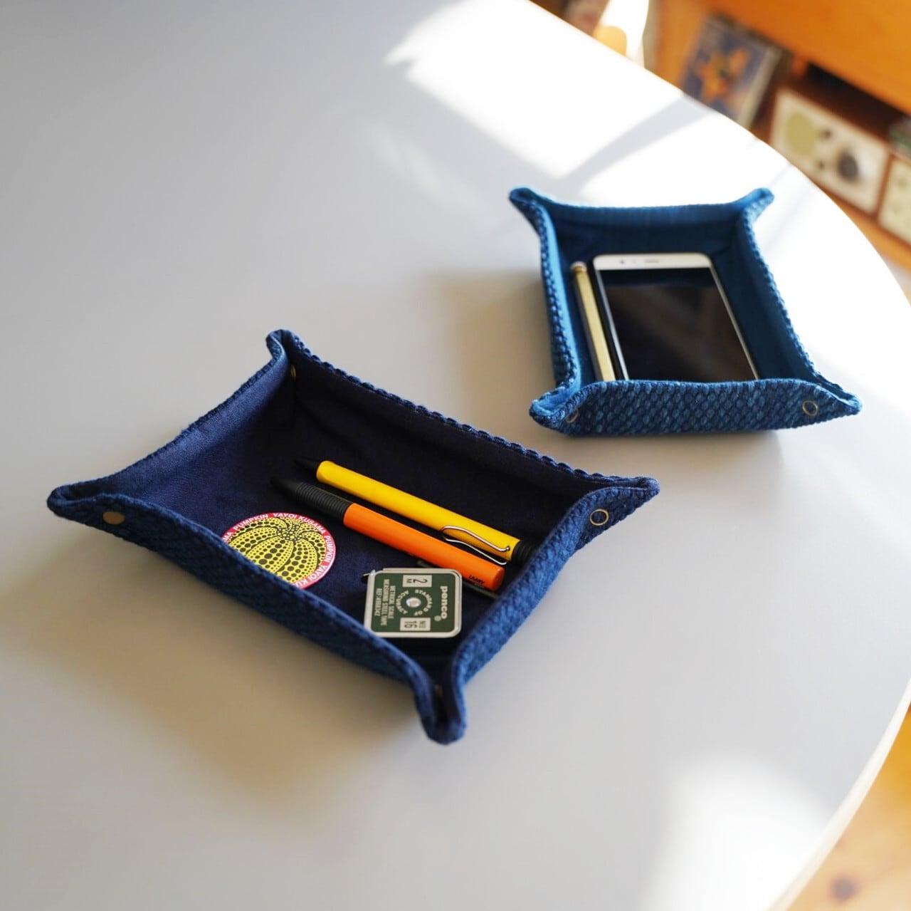 うしじま縫製 | 武州正藍染 長方形トレイ 二重刺子