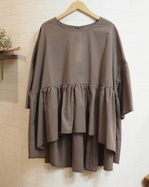 【SALE】gather blouse  <brown>
