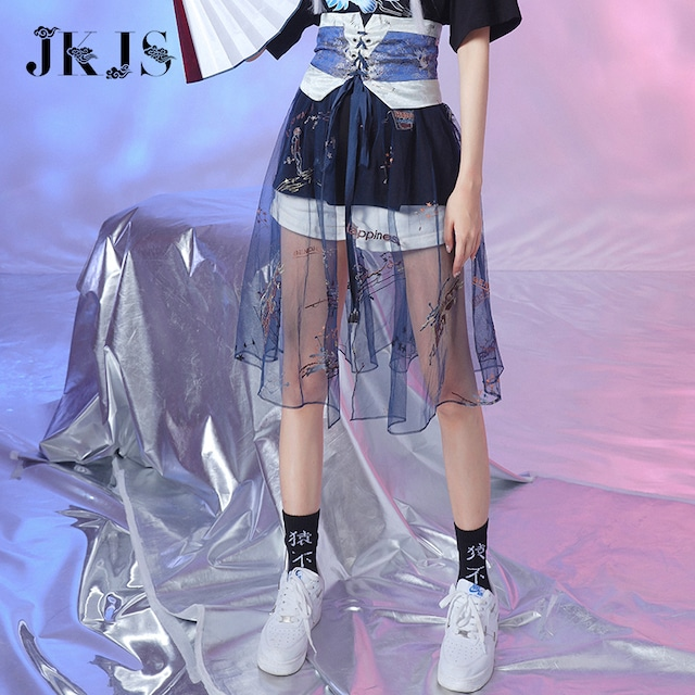 【JKJSシリーズ】★チャイナ風スカート★ ベルト付きスカート 可愛い 刺繍入り オリジナル S M L XL