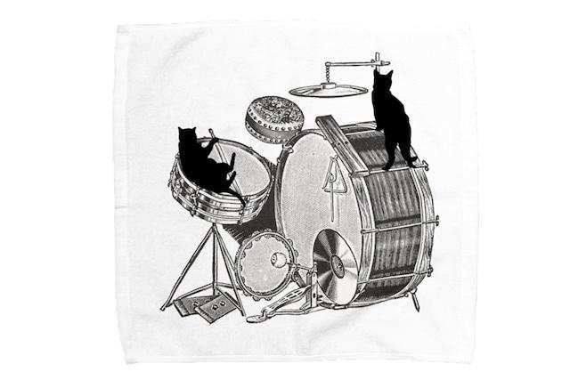 【即日出荷用】ドラムと黒猫のミニタオル