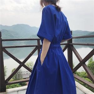 【即納】半袖ワンピースコットンドレス(ブルー) Vネック リゾート 安い 抜け感 開襟 Aライン ロング丈