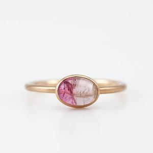 Bicolor tourmaline ring / Cabochon
