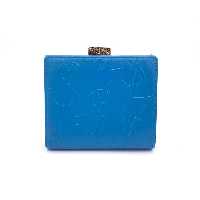 Yves Saint Laurent イヴサンローラン YSL YSL型押し がま口 財布 コインケース ミニ財布 ブルー ntcwdu