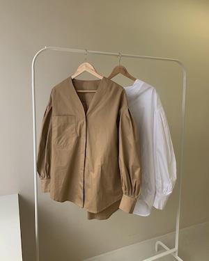 drop shoulder v neck blouse