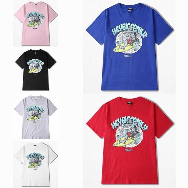 ユニセックス 半袖 Tシャツ メンズ レディース サメ サーフィン オーバーサイズ 大きいサイズ ルーズ ストリート TBN-574331287947