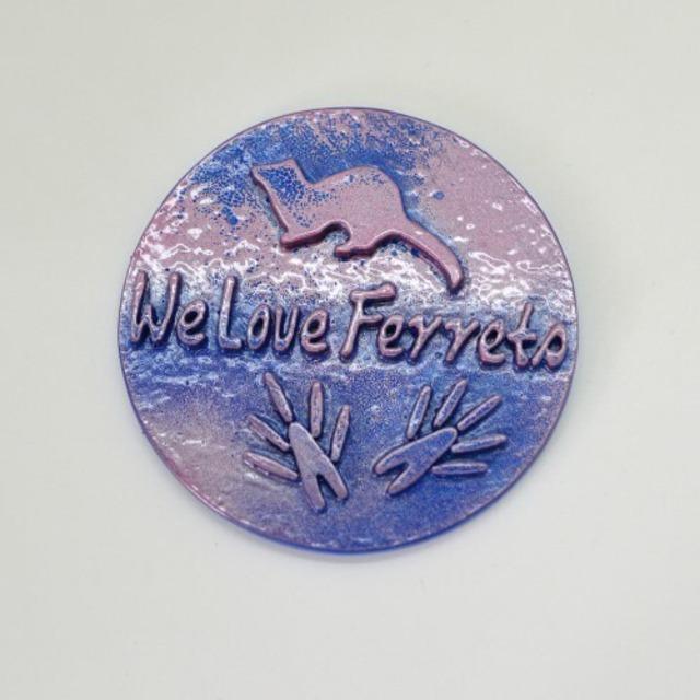 We Love Ferrets マグネットステッカー ⑪キャスト製(直径80mm)(ピンクメタ/ブルーメタ)無料配送