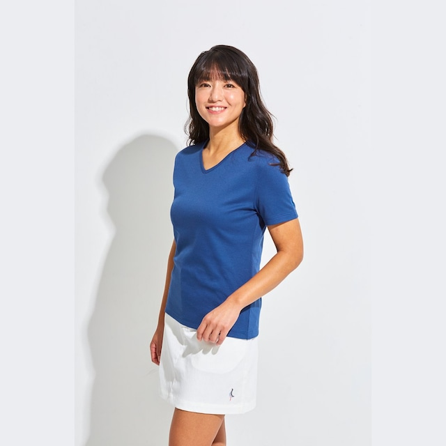 Tee-chi レディースTシャツ <Vネック><NAVY>
