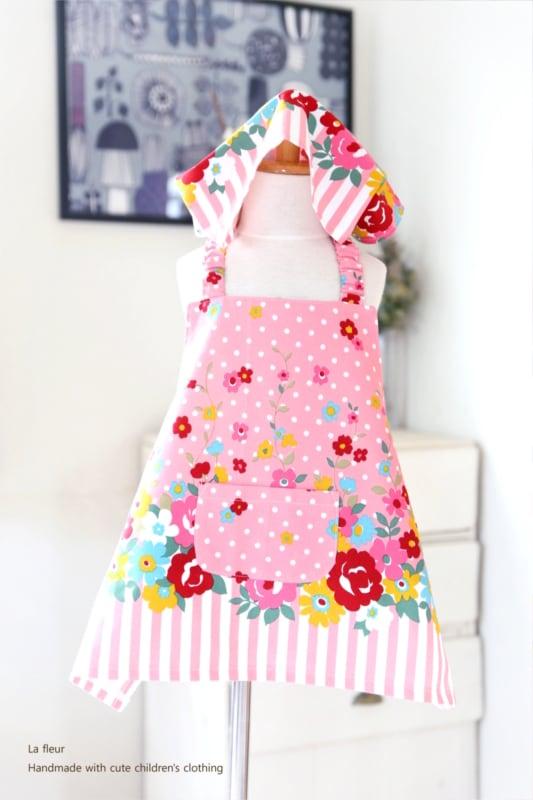 キッズエプロン・三角巾セット110-120*花柄・ストライプ/La fleur