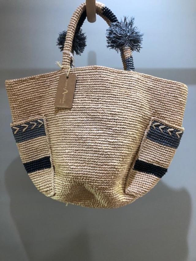 Sans Arcidet (サンアルシデ)ANUNANUA BAG S  Col.1(Jean/Natural/Noir)  ラフィアバッグ マダガスカル製