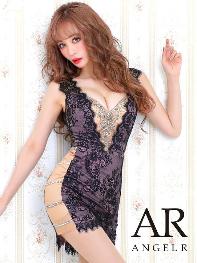【AngelR】サイドビジューレースデザインタイトミニドレス(AR20344)