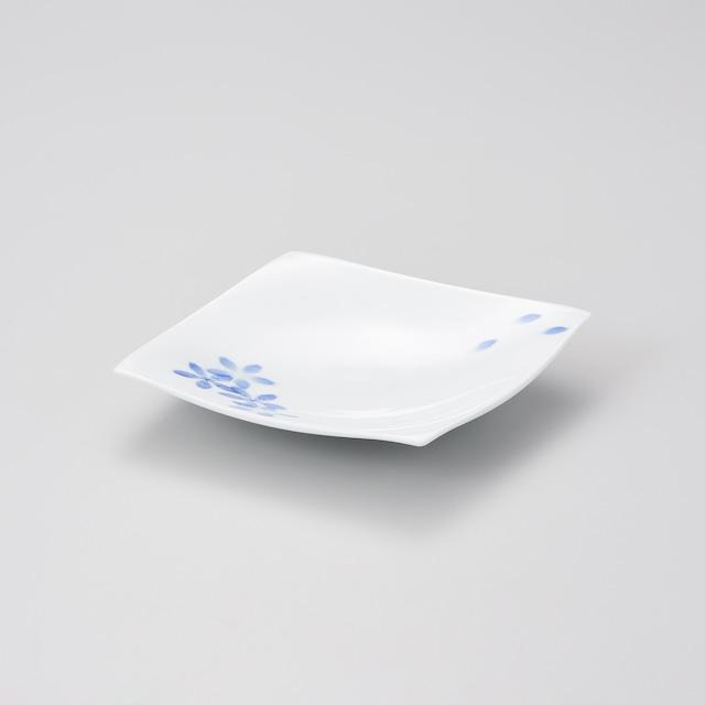 【中仙窯】和紙染桜絵 四方上がり皿(日本工芸会正会員 中尾英純作)