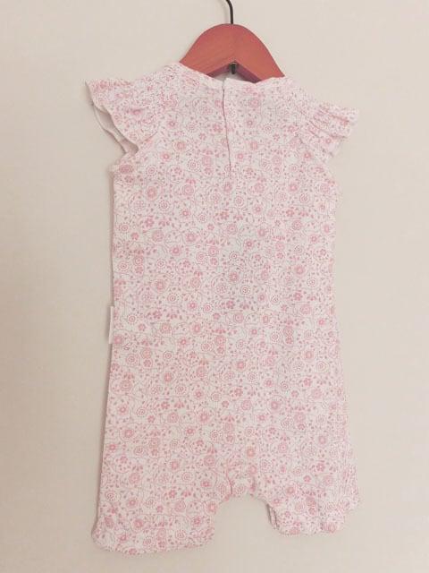 オーガニックコットン 花柄スモックスリーブ 半袖プルオーバーロンパースベビー服   【purebaby】