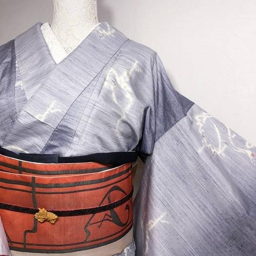 三松誂え モダン&ほっこり紬 薄紫~グレーグラデ 丹頂鶴織り出し