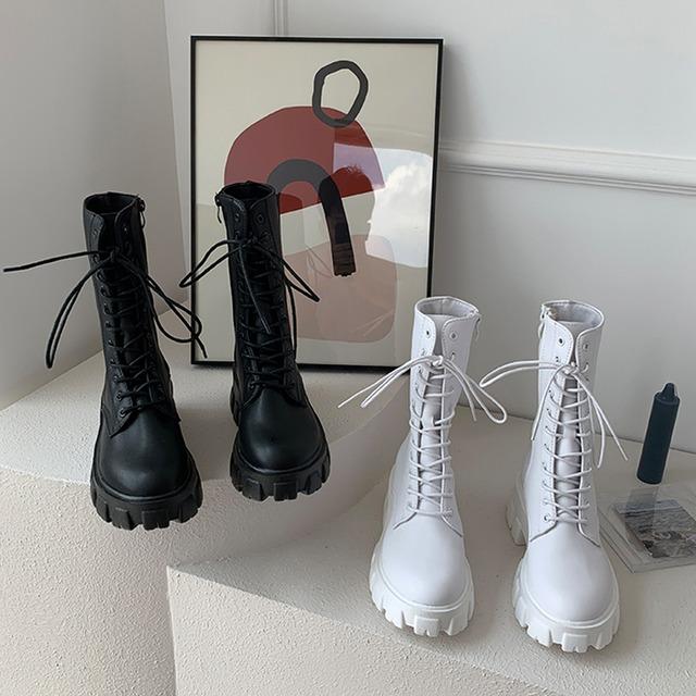 【シューズ】大流行新作 カジュアル PU 丸トゥ ローヒール 編み上げ ミドル丈ブーツ53618635