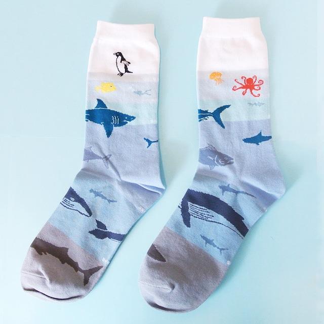 《魚/フグ・サメ 鳥/ペンギン》 靴下 海洋生物学 22〜25cm GARAPAGO SOCKS タコ クラゲ くじら