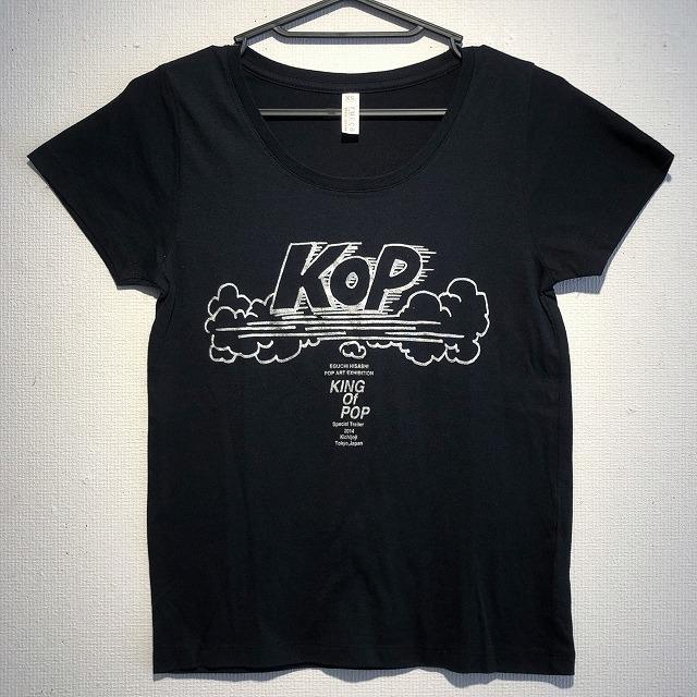 江口寿史 「KOP」レディースTシャツ(ブラック×シルバー字)クリアファイル付き( ※色は選べません)