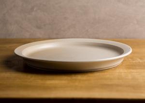白マット釉 8寸リムプレート(大皿・25cm皿)/鈴木美佳子