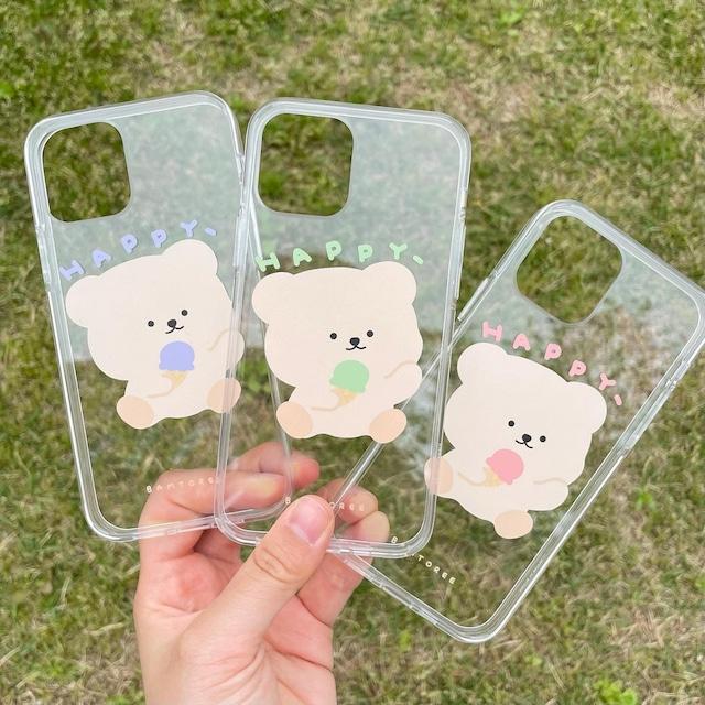 [BAMTOREE] アイスクリーム クリア iPhoneケース(全3色/最大4機種)