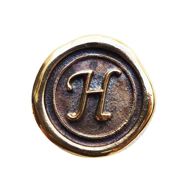 シーリングイニシャル S 〈H〉 ブラス / コンチョボタン