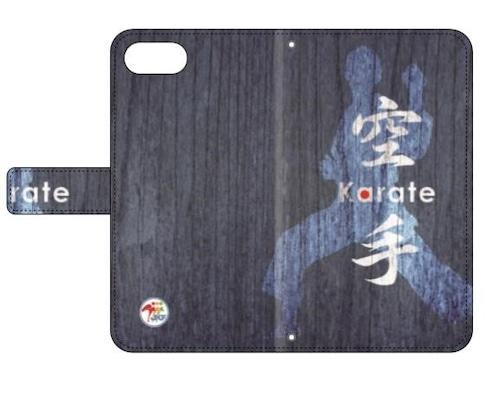 その他機種 用:全日本空手道連盟認定 手帳型スマホケース O_木目_ブルー