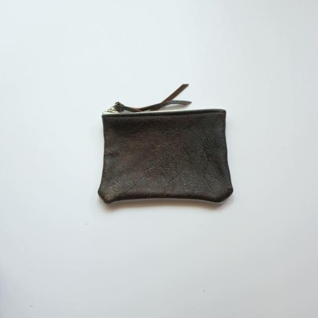 pouch S 40s european vintage leather jacket × vintage linen