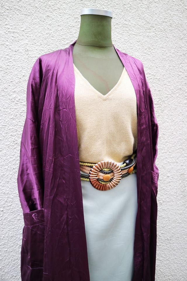 Purple satin gown
