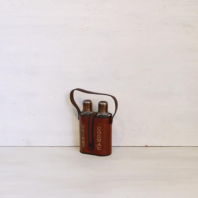 【R-528】イタリア製 レザー ウイスキーコニャック瓶ホルダー