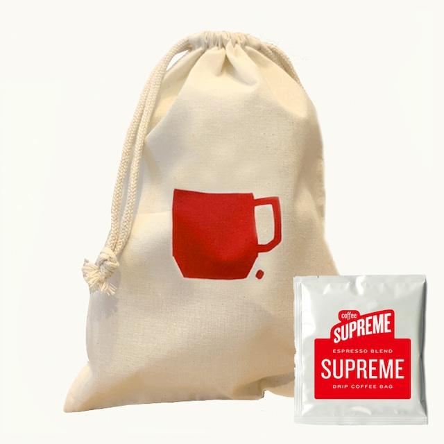 コーヒードリップバッグ5個&巾着セット<SUPREME BLEND>