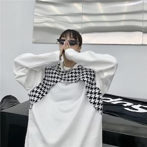 【トップス】韓国風千鳥格子重ね着風ルーズラウンドネックTシャツ52256457