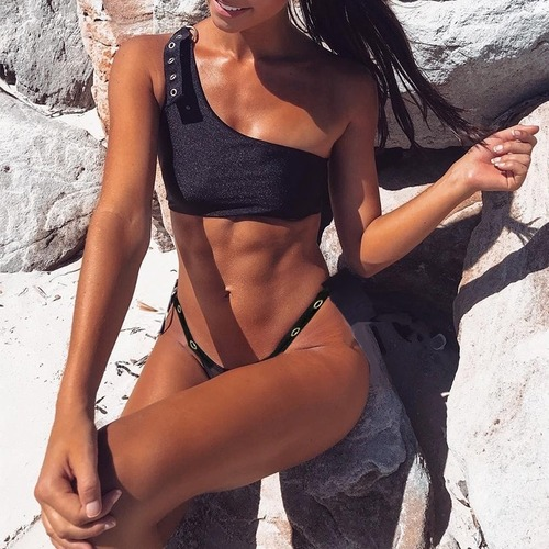 Bikini♡ワンショルダーベルトビキニ グリッターブラック