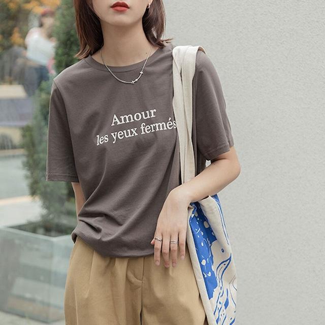 シンプル ロゴ Tシャツ | 韓国服 ナチュラル ブラック ブラウン