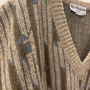 Paul Rhodamel Vネック デザインニット ブラウン系 フランス製 size 5 メンズ 古着