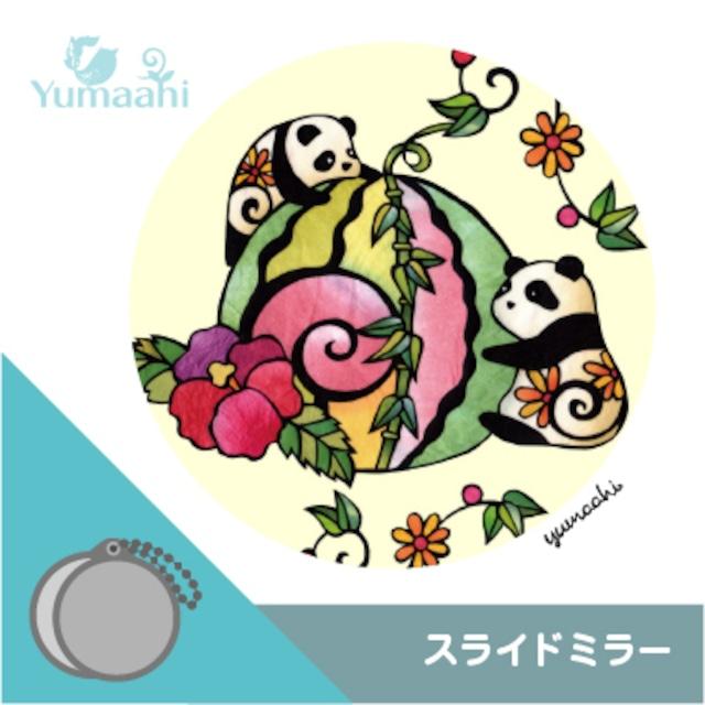 スライドミラー 携帯鏡 :パンダと笹スイカ