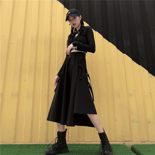 【スカート】韓国系ストリート系不規則スリットスカート43149265