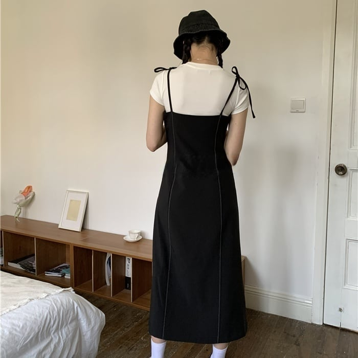 Side slit sling one-piece(サイドスリットスリングワンピース)b-189