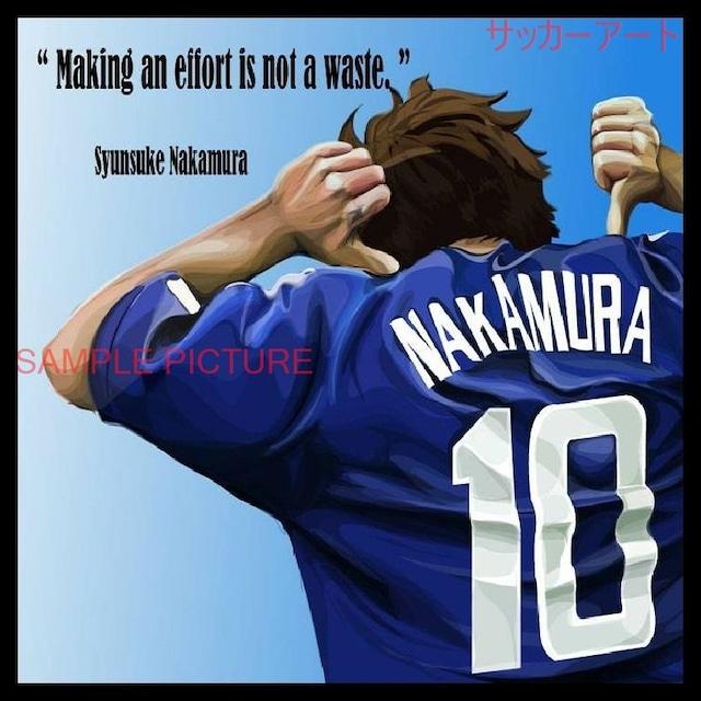 サッカーグラフィックアートパネル SYUNSUKE NAKAMURA 中村俊輔 JAPANナンバー10 木製 壁掛け ポスター (001-171)