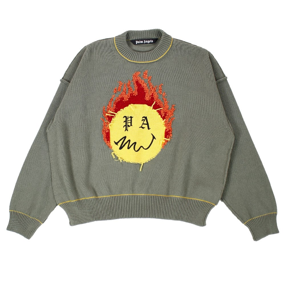 PALM ANGELS Burning Head Knit Khaki SIZE;M