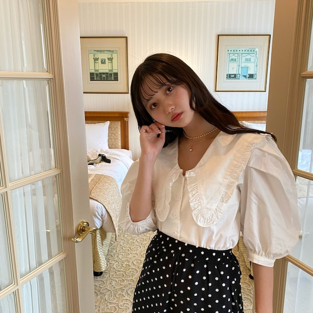 【hana collaboration】big collar blouse