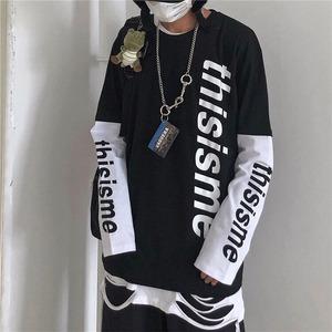 【トップス】ファッションカップルルーズ切り替えしパーカー52975471