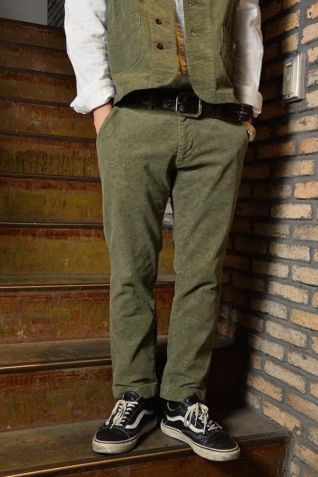 Mens, [CM008-59 ] Corduroy trouser コーデュロイトラウザー  (カーキペイズリー) オリーブ,セットアップ対応, 日本製 雑誌掲載,ミリタリー,ワーク,