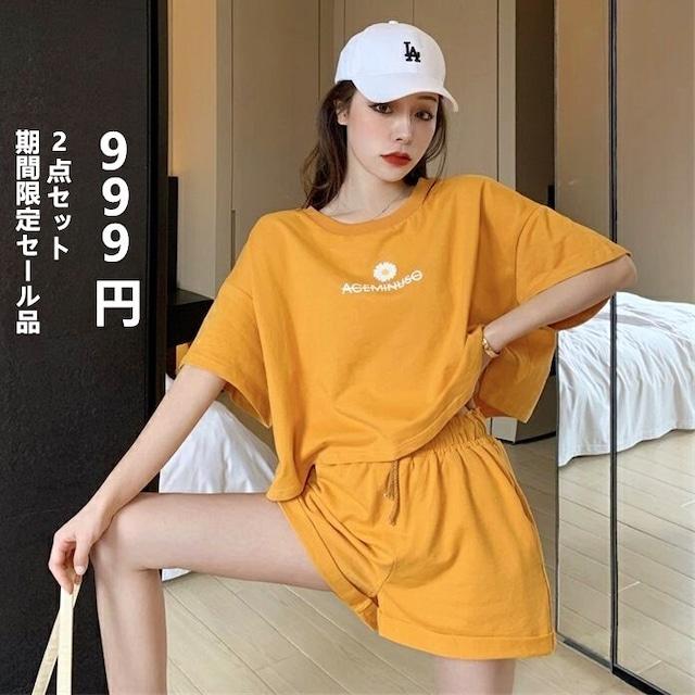 【トップス】2点セットカジュアル無地半袖Tシャツ+カジュアル無地ショートパンツ46743389