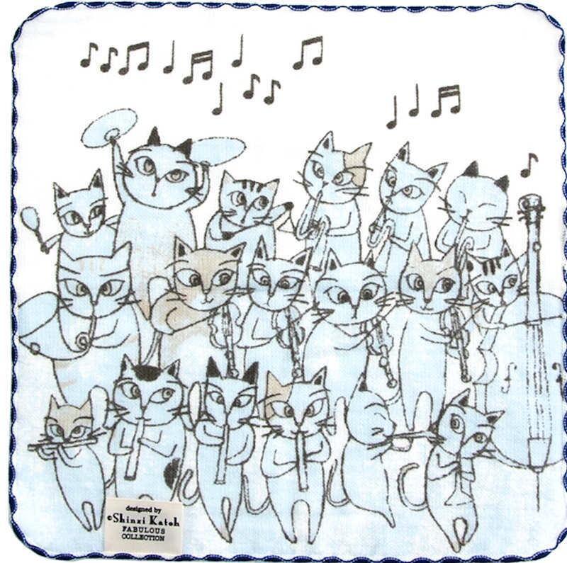 【在庫少】タオルハンカチ 猫のオーケストラ/ブルー