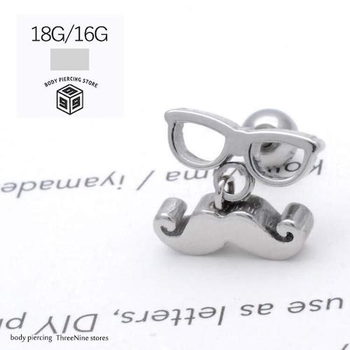ボディピアス 18G 16G ヒゲ付メガネ ワンランク上のお洒落 耳たぶ 軟骨ピアス 兼用 TPB066